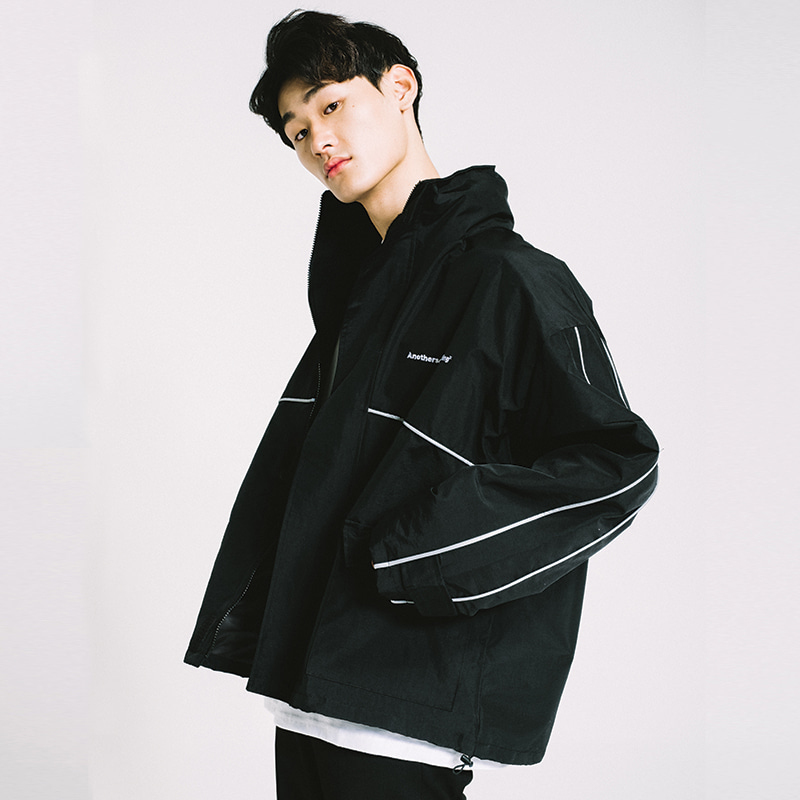 basic side line wind breaker Black[원더나인 전도염 착용]