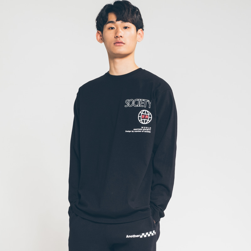 Society 世界 point long sleeve Black