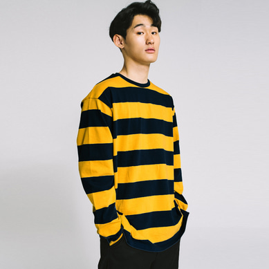 basic stripe long sleeve tee Navy/Yellow